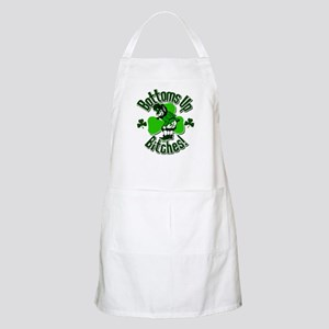 Bottoms Up Bitches Leprechaun Apron