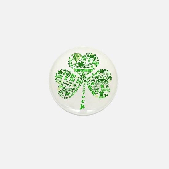 St Paddys Day Shamrock Mini Button