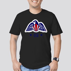 USA Gold Eagle-Art Deco Men's Fitted T-Shirt (dark