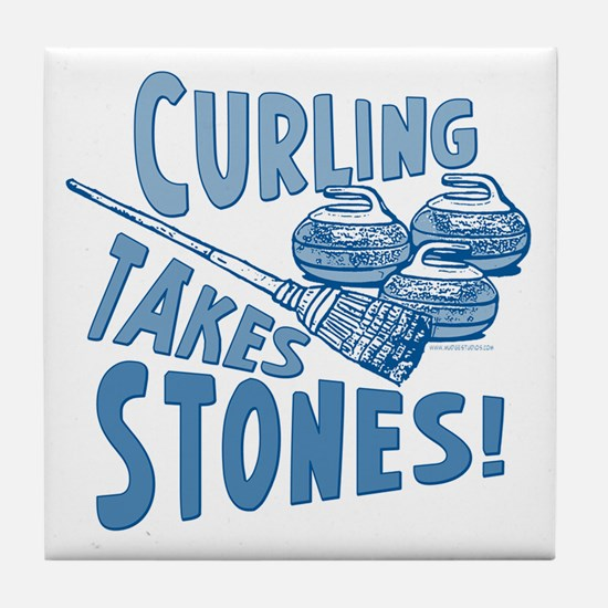 Curling Takes Stones Tile Coaster