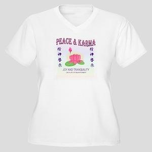 Peace & Karma Women's Plus Size V-Neck T-Shirt