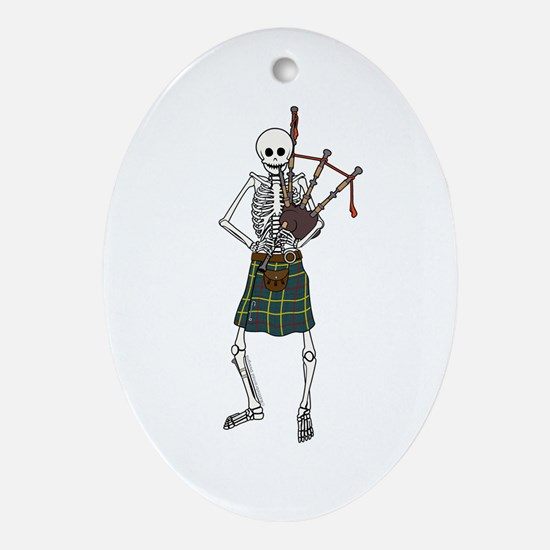 Bagpiper Skeleton Ornament (Oval)