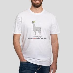 """Llamas """"I do not kill..."""" Fitted T-Shirt"""