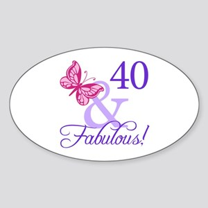 40th Birthday Butterfly Sticker (Oval)