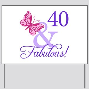 40th Birthday Butterfly Yard Sign
