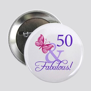 "50th Birthday Butterfly 2.25"" Button"