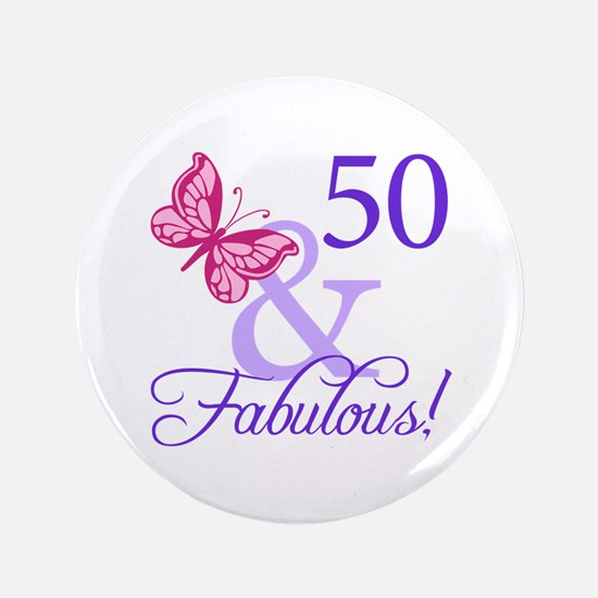 """50th Birthday Butterfly 3.5"""" Button"""