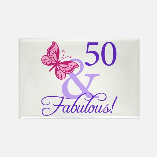 50th Birthday Butterfly Rectangle Magnet
