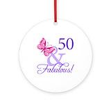 50th birthday Round Ornaments