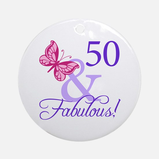 50th Birthday Butterfly Ornament (Round)