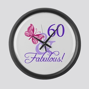 60th Birthday Butterfly Large Wall Clock