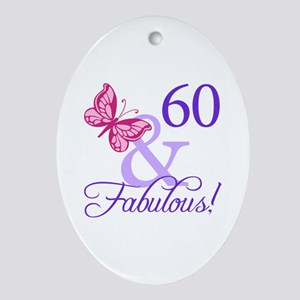 60th Birthday Butterfly Ornament (Oval)