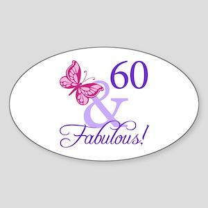 60th Birthday Butterfly Sticker (Oval)
