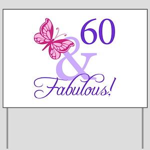 60th Birthday Butterfly Yard Sign