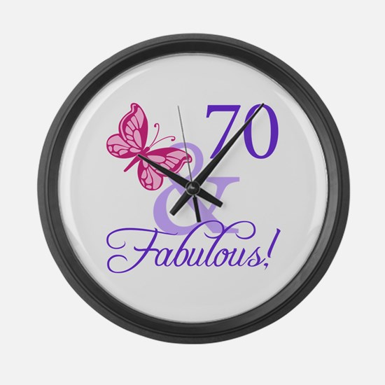 70th Birthday Butterfly Large Wall Clock