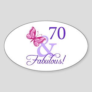70th Birthday Butterfly Sticker (Oval)