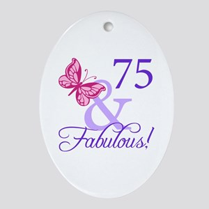 75th Birthday Butterfly Ornament (Oval)