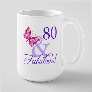 80th Birthday Butterfly Large Mug