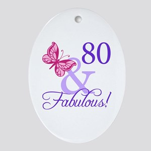 80th Birthday Butterfly Ornament (Oval)