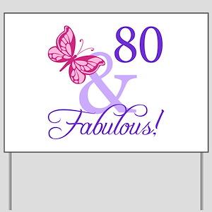 80th Birthday Butterfly Yard Sign