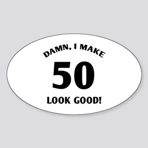 50 Yr Old Gag Gift Sticker (Oval)