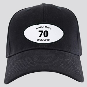 70 Yr Old Gag Gift Black Cap