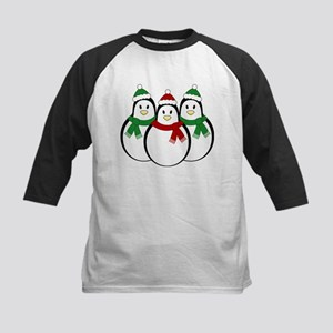 Christmas Penguins Kids Baseball Jersey