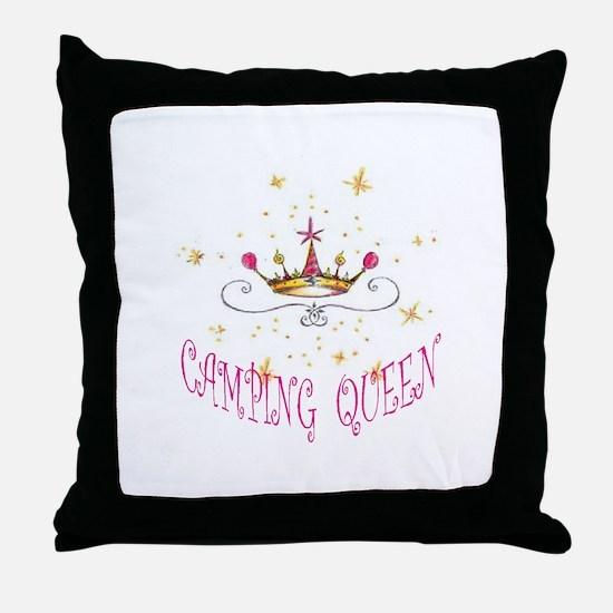CAMPING QUEEN Throw Pillow