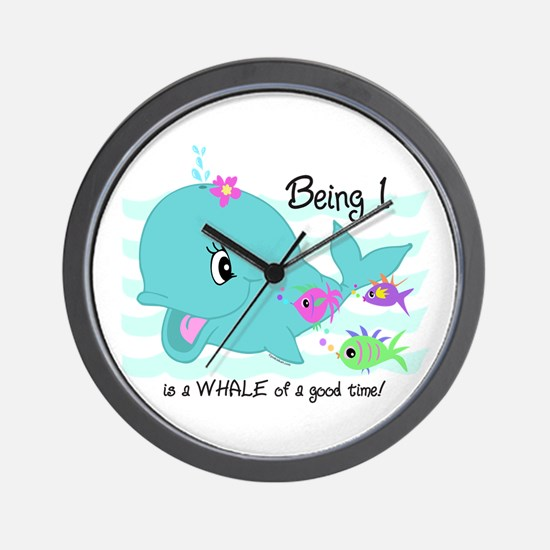 Whale 1st Birthday Wall Clock