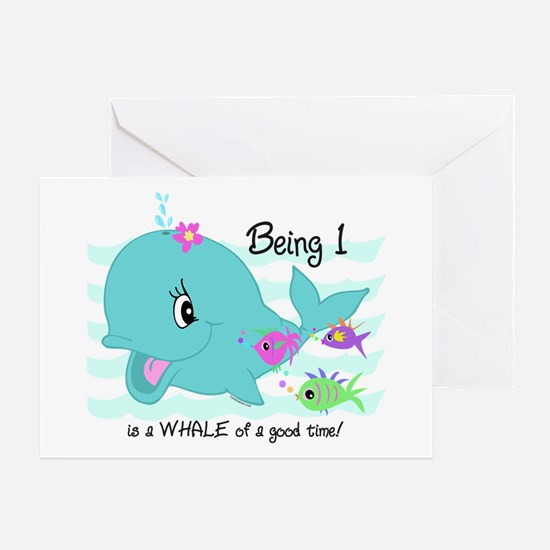 Whale 1st Birthday Greeting Card