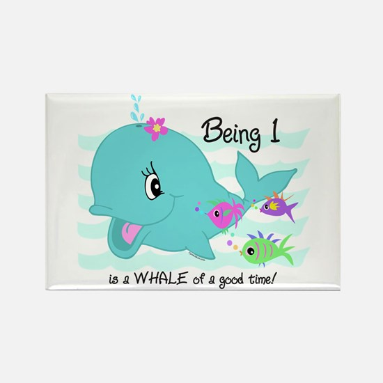 Whale 1st Birthday Rectangle Magnet