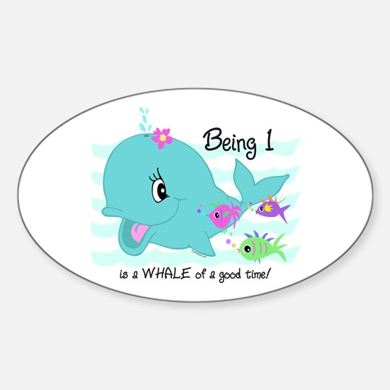 Whale 1st Birthday Sticker (Oval)