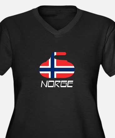 Norway Curling Women's Plus Size V-Neck Dark T-Shi
