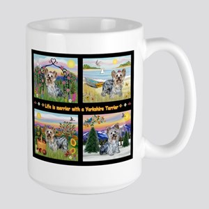 4 Seasons with a Yorkie Large Mug