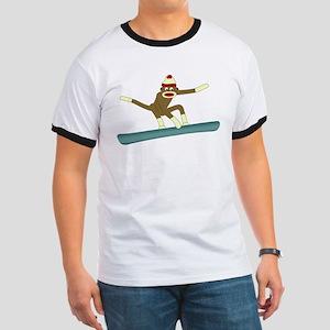 Sock Monkey Snowboarder Ringer T-Shirt