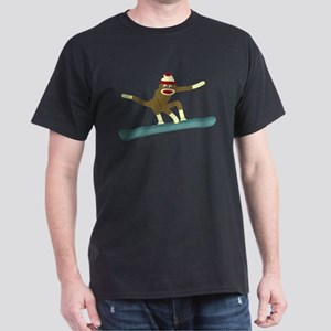Sock Monkey Snowboarder Dark T-Shirt