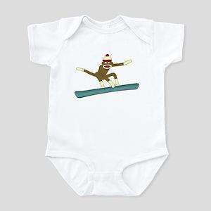 Sock Monkey Snowboarder Baby Bodysuit