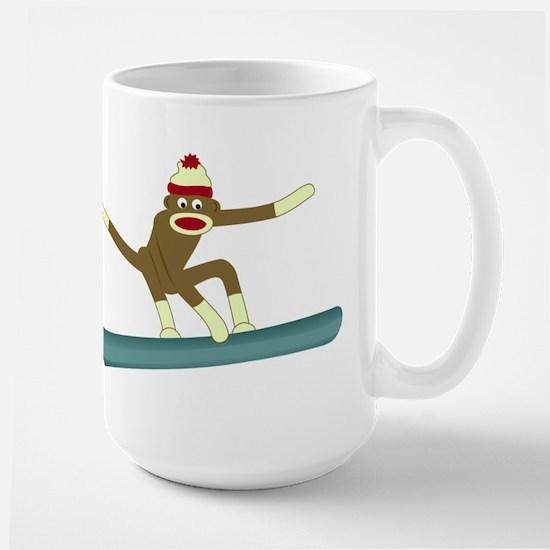 Sock Monkey Snowboarder Large Coffee Mug