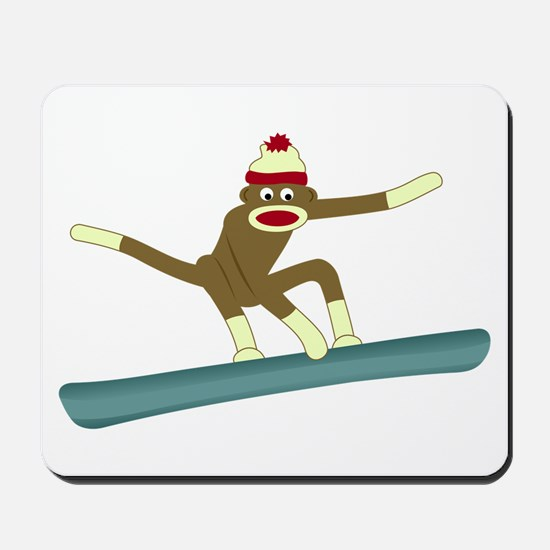 Sock Monkey Snowboarder Mousepad