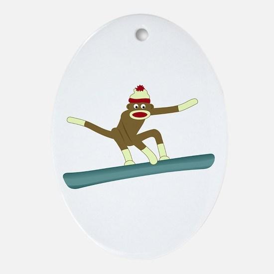 Sock Monkey Snowboarder Ornament (Oval)