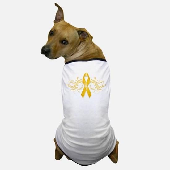 Gold Ribbon Dog T-Shirt