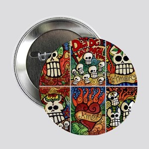 "Day of the Dead Sugar Skulls 2.25"" Button"