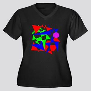 Colourful Abstracts Women's Plus Size V-Neck Dark