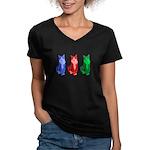 3 Pop art cats Women's V-Neck Dark T-Shirt