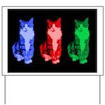 3 Pop art cats Yard Sign