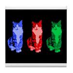 3 Pop art cats Tile Coaster