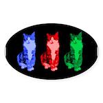 3 Pop art cats Sticker (Oval 10 pk)