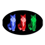 3 Pop art cats Sticker (Oval 50 pk)