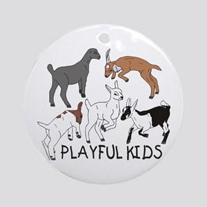 Playful Goat Kids Ornament (Round)