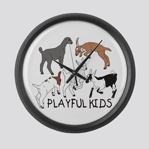 Playful Goat Kids Large Wall Clock